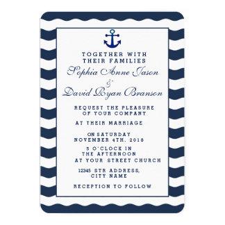 Cartão Âncora náutica Wedding das ondas do marinho dos