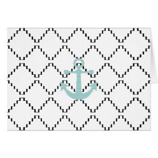 Cartão Âncora - tiras - azul e branco
