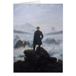 Cartão Andarilho acima do mar da névoa