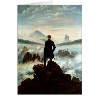 Cartão Andarilho acima do mar da névoa, Caspar Friedrich