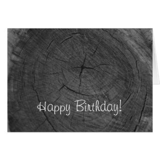 Cartão Anéis de árvore preto e branco do feliz