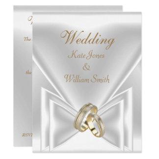 Cartão Anéis de ouro branco elegantes Wedding