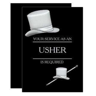 Cartão Anel de prata à moda elegante Usher do chapéu alto