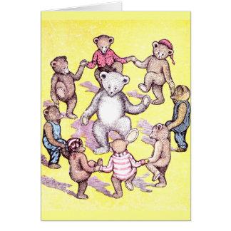 Cartão Anel do jogo dos ursos de ursinho em torno do