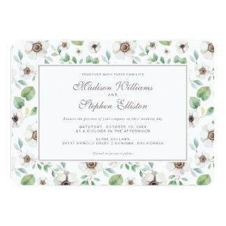 Cartão Anêmona branca floral da aguarela   - casamento