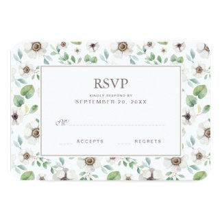 Cartão Anêmona branca floral da aguarela   - RSVP Wedding