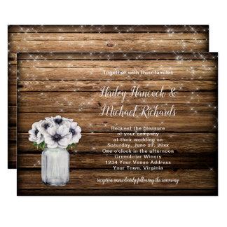 Cartão Anêmonas de madeira do frasco de pedreiro do