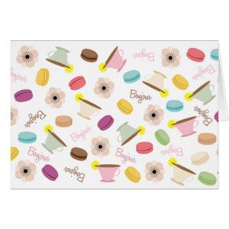 Cartão Anêmonas & TeacupsNotecard de Macarons do francês