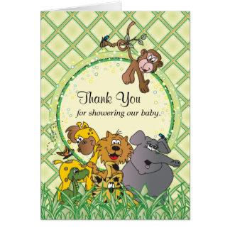 Cartão Animais do bebê da selva do safari - obrigado