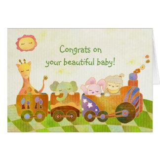 Cartão Animais do bebê no trem de Choo Choo: Bebê novo