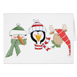 Cartão Animais do trio do Natal