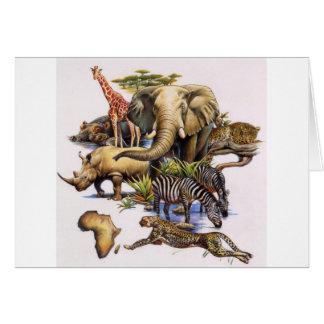 Cartão Animais selvagens africanos no concerto