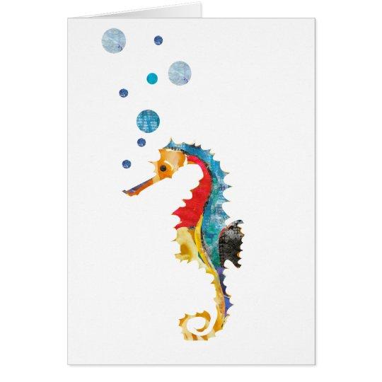 Cartão Animal bonito do oceano do cavalo marinho do