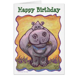 Cartão animal do feliz aniversario do Hippopotamus