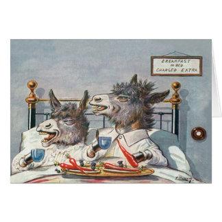Cartão animal do vintage engraçado - asnos na cama