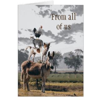 Cartão animal engraçado do grupo da pirâmide