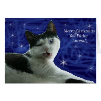 Cartão Animal sujo do Natal do gato