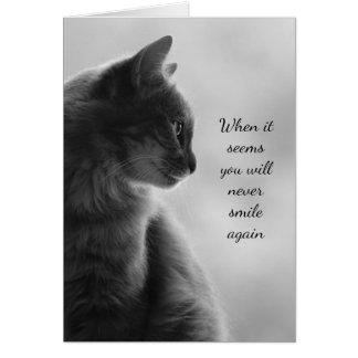 Cartão Animal triste do gato da sensação do incentivo