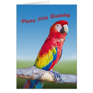 Cartão Aniversário, 50th, papagaio do Macaw