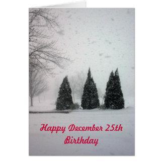 Cartão Aniversário 6 do Natal - neve delicada