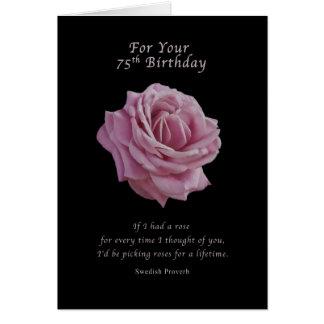 Cartão Aniversário, 75th, rosa do rosa no preto