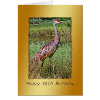 Cartão Aniversário, 88th, pássaro do guindaste de