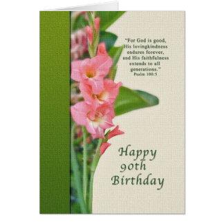 Cartão Aniversário, 90, com tipo de flor cor-de-rosa