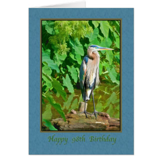 Cartão Aniversário, 98th, garça-real de grande azul