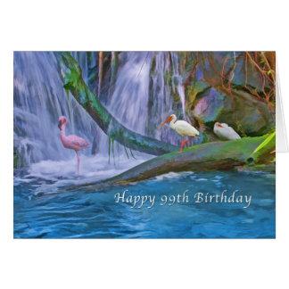 Cartão Aniversário, 99.o, cachoeira tropical, pássaros