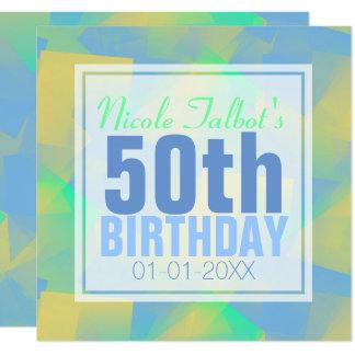 Cartão Aniversário abstrato Inv quadrado do pastel 50th