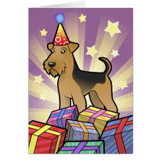 Cartão Aniversário Airedale Terrier/galês Terrier