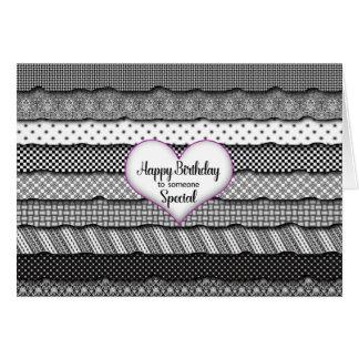Cartão Aniversário alguém especial - coração & plissados