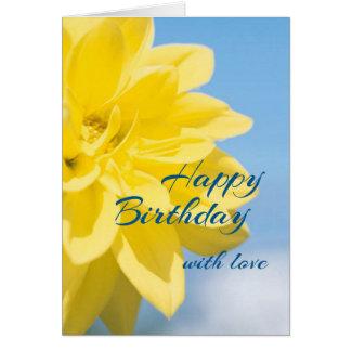 Cartão Aniversário amarelo bonito da flor