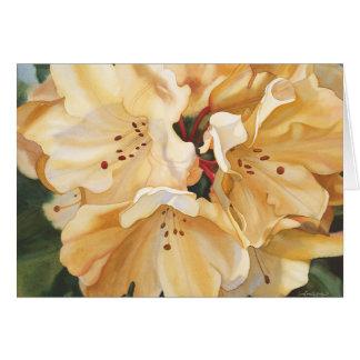 Cartão Aniversário amarelo do rododendro