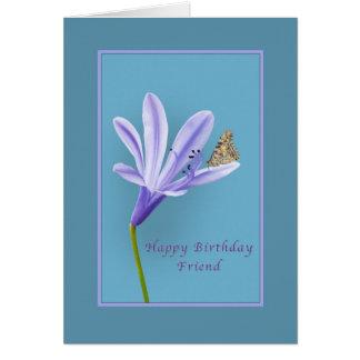 Cartão Aniversário, amigo, flor do hemerocallis e