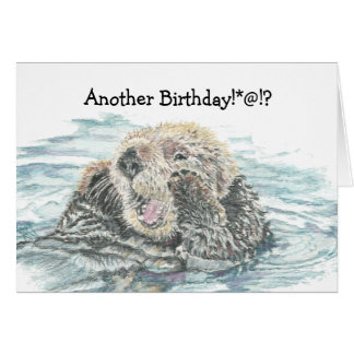 Cartão Aniversário animal cómico da lontra bonito da