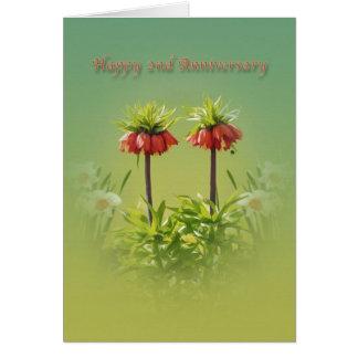 Cartão Aniversário, ?as, tulipas vermelhas de Rubra