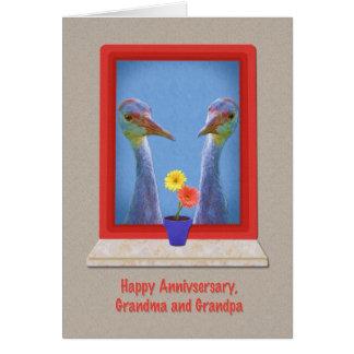 Cartão Aniversário, avós, pássaros do guindaste