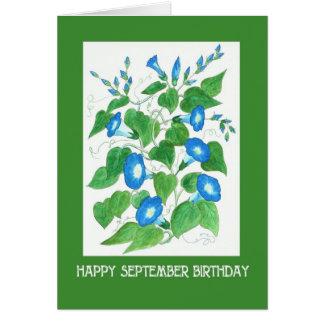 Cartão Aniversário azul bonito de setembro da corriola