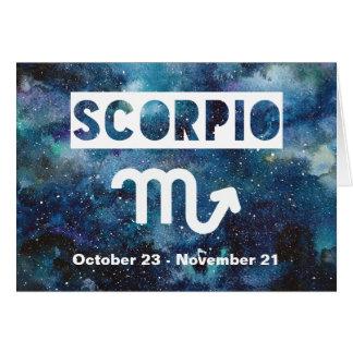 Cartão Aniversário azul da galáxia da aguarela do zodíaco