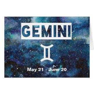 Cartão Aniversário azul da galáxia da aguarela dos Gêmeos