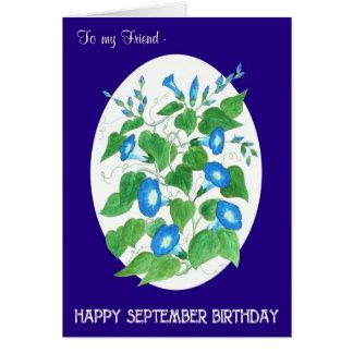 Cartão Aniversário azul de setembro da corriola para o