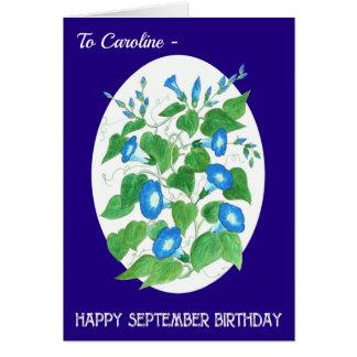 Cartão Aniversário azul dianteiro feito sob encomenda de