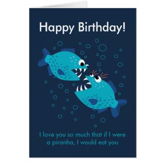 Cartão Aniversário azul do amor dos peixes do Piranha do