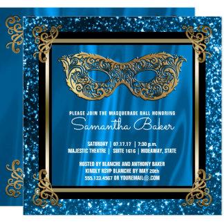 Cartão Aniversário azul do doce dezesseis do mascarada |