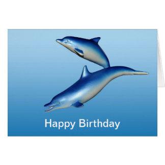 Cartão Aniversário azul dos golfinhos