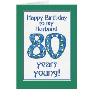 Cartão Aniversário azul, verde, branco chique do 80 para