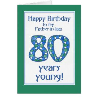 Cartão Aniversário azul, verde, branco do 80 para o sogro