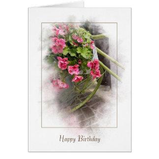 Cartão aniversário-bicicleta com gerânio