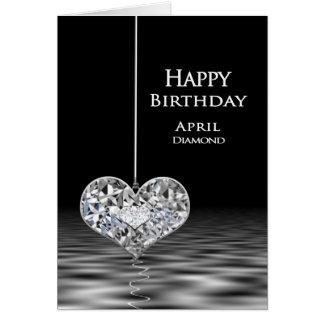 Cartão Aniversário - Birthstone - abril - diamante